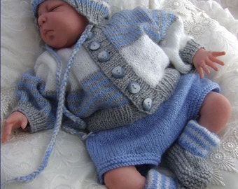 Baby Knitting Pattern - Boys or Baby Girls PDF Knitting Pattern  Download Pattern for Sweater, Hat, Pants & Booties