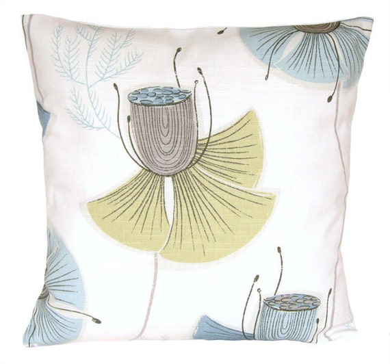 Blue, green, grey and white cushion cover 16x16 - Poppies wedgewood