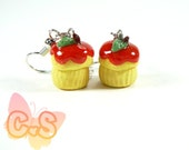 Apple Muffin Earrings, Cake Charm Earrings, Cupcake Jewelry Charms