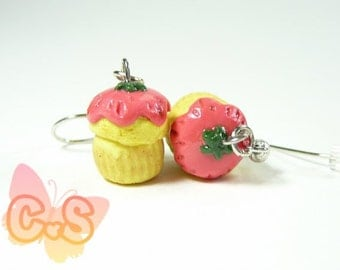 Strawberry Muffin Earrings, Cake Charm Earrings, Cupcake Jewelry