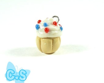 Cupcake Charm White Cupcake with Red and Blue Sprinkles Cake Charm