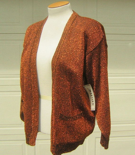Copper Orange Metallic Lurex Cardigan Sweater Lurex Knit Vintage 70s - New Old Stock with Tags - S / M