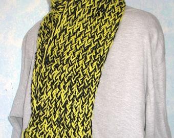 Winter scarf, handknit, black, yellow, item BO2