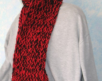 Winter scarf, black, cherry red