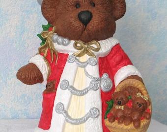Ceramic Christmas Bear, Handpainted, with Baby Bears