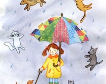 It's Raining Cats and Dogs, Nursery Wall Art Print,  8x10 and 11x14