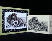 daisy basket rubber stamp
