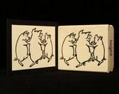dancing pigs rubber stamp