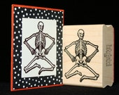 bendy skeleton rubber stamp