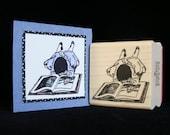 little girl reading rubber stamp