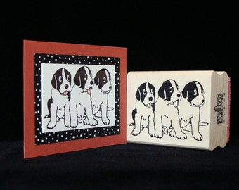 "dog rubber stamp ""three pups"""