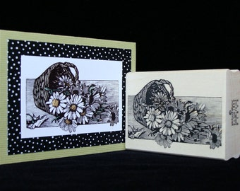 basket of daisies rubber stamp