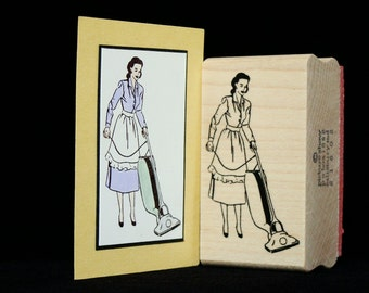 "picture show rubber stamp ""vacuuming"""