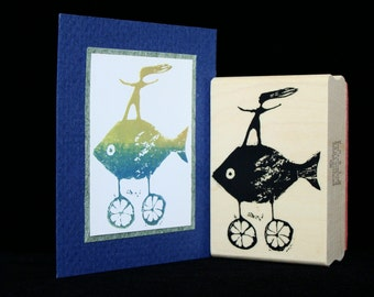 fish on wheels rubber stamp  (smaller)