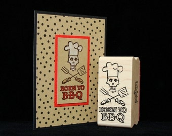 """picture show rubber stamp  """"born to BBQ"""""""