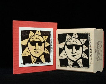 sun with shades rubber stamp