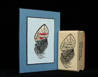 wooden row boat rubber stamp