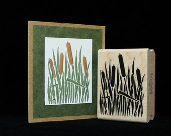 cattails rubber stamp