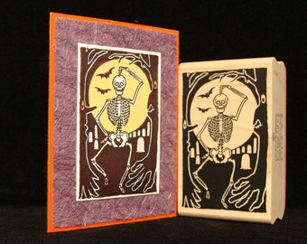 """halloween rubber stamp  """"skeleton in the wood"""""""