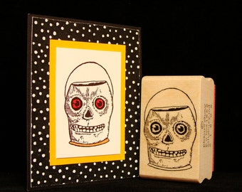 """halloween  rubber stamp  """"skull container"""""""