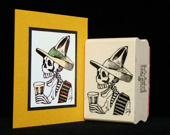 """halloween rubber stamp  """"skeleton with a drink"""""""