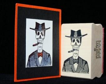 """halloween rubber stamp  """"smoking skeleton"""""""