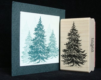 """picture show rubber stamp """"pine tree""""  (larger)"""