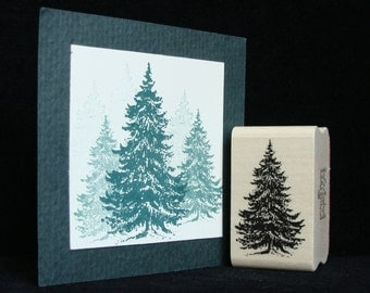 "picture show rubber stamp,  ""pine tree""   (smaller)"