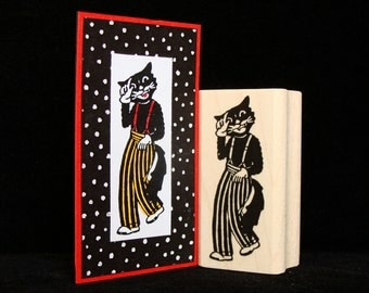 jazz cat rubber stamp