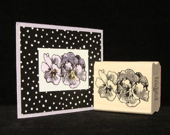 pansies rubber stamp  (small)