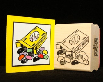 box of jelly beans rubber stamp