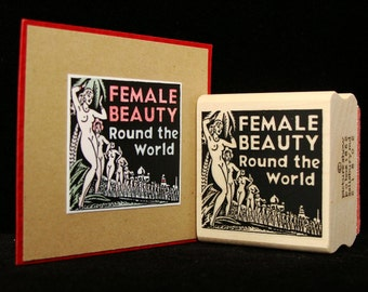 female beauty rubber stamp