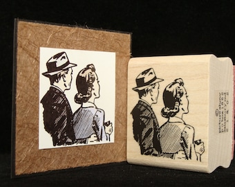 retro couple rubber stamp