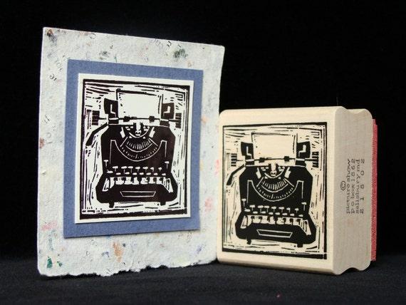 vintage typewriter rubber stamp