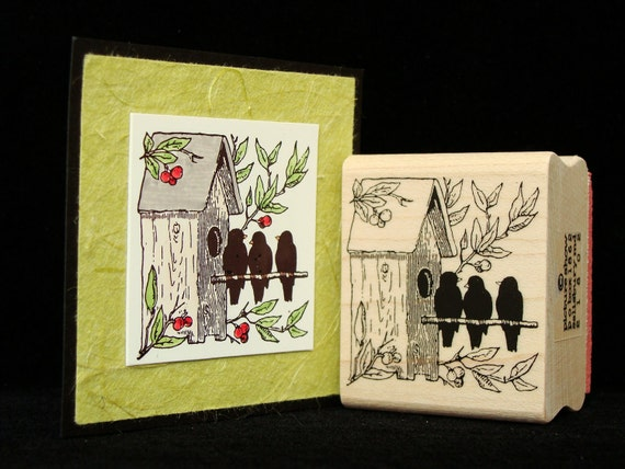 "bird rubber stamp  ""bird house"""
