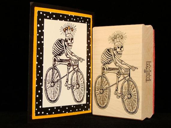 "halloween rubber stamp  ""skeleton on a bike"""