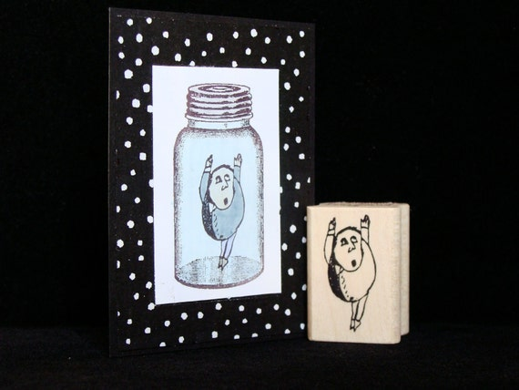 little guy no.2  rubber stamp