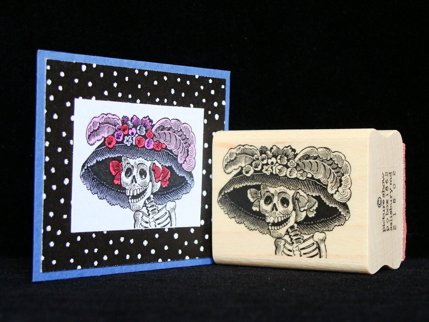 Halloween Rubber Stamp Quot Skeleton With Hat Quot From
