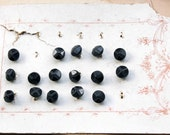 Antique French Jet Shank buttons (16) on genuine distressed card - faceted black glass buttons - brass shank - 1900s