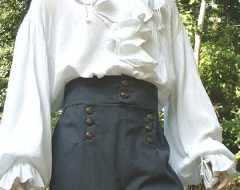 B020     Poet Shirt Musketeer Shirt Renaissance Pirate Shirt Flounce Ruffled Front  Men's Women's Made to Order