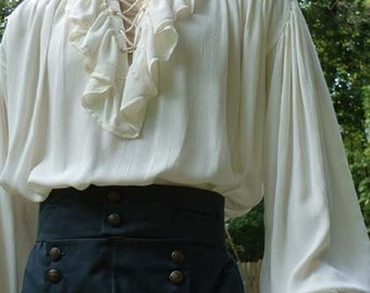 B018   Poet Shirt Musketeer Shirt Renaissance Pirate Ruffled, Lace Up Front  Shirt Adult   Made to Order