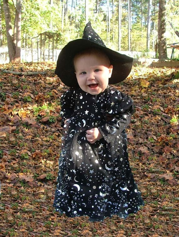 309   Ready To Ship  Cute Silver Star and Moon Halloween Witch Toddler 4