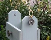 Fall for Me - Hanging Bird Feeder, Vintage Brass Floral Knobs, Reycled Wood