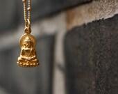 Gold Buddha Necklace - Yoga Jewelry . 24K Gold Dipped Buddha Charm . 14K Gold Filled Satellite Chain