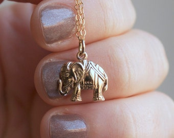 Gold Elephant Necklace - Yoga Jewelry . Outdoor & Sportsman. Charm Necklaces. Gift Ideas for Her. 24k Gold-Dipped, Bronze, Sterling Silver