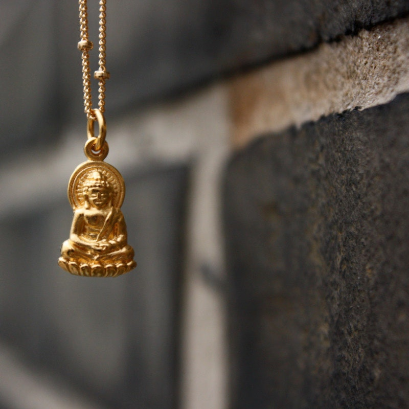 Gold buddha necklace yoga jewelry 24k gold dipped buddha for Zen culture jewelry reviews