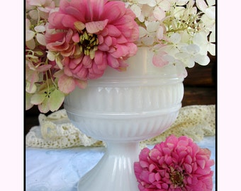 Cottage Chic Vintage Milk Glass Planter / Milk Glass Centerpiece / Milk Glass Compote