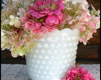 Vintage Milk Glass Hobnail Planter / Wedding Centerpiece