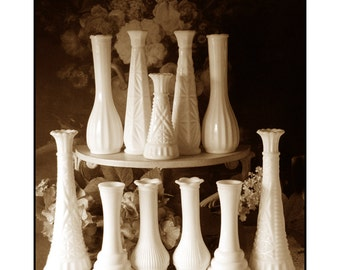 Vintage Milk Glass Bud Vase Collection / Wedding Vase Collection -  Party of Eleven