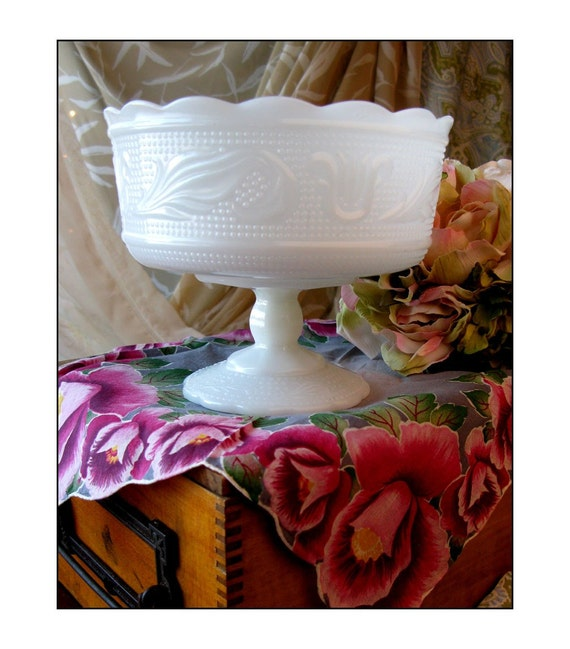 Vintage Milk Glass Compote by E.O. Brody